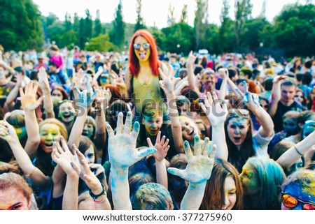 TAGANROG, RUSSIAN FEDERATION - June 06, 2015. Roots of this festival are in India, where it called Holi Festival. Now russian people celebrate it too.