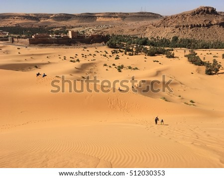 Taghit city of North Africa Bechar Algeria, sandy Taghit desert oasis and city life