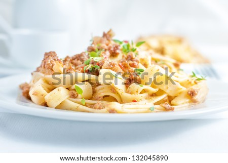 tagliatelle bolognese - stock photo