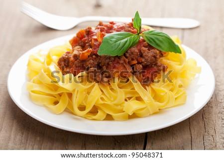 tagliatelle bolognese - stock photo