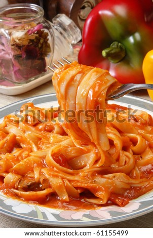 Tagliatelle pasta with a rich bolognese sauce - stock photo