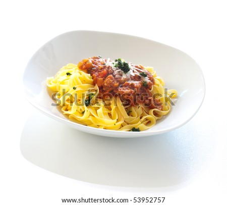 Tagliatelle with ragù - stock photo