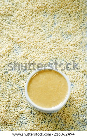 tahini, sesame paste, in a spoon on a sesame background. tinting. selective focus on the middle of tahini - stock photo
