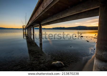 Tahoe Lake Sunset - stock photo