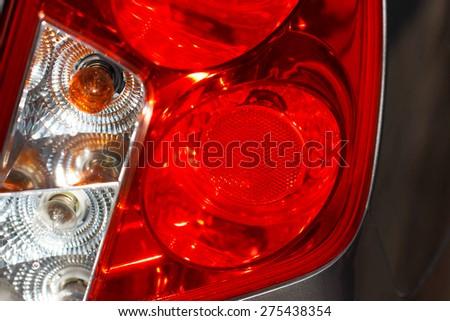 Tail light of car close up - stock photo