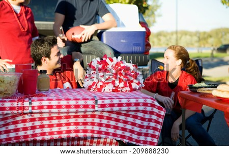 Tailgate: Table With Party Food And Empty Space