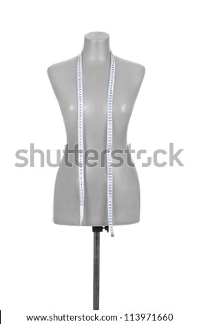 tailor mannequin with tape measure on white background - stock photo