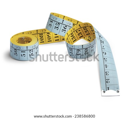 tailor's tape measure partially rolled up on a white background