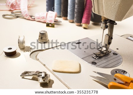 Tailor, tailoring table and utensils. High resolution image. - stock photo
