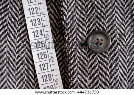 Tailor tape measure and fabric close-up detail