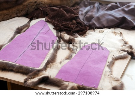 Tailor tools, scissors, thimble, pattern, sketch, fur - stock photo