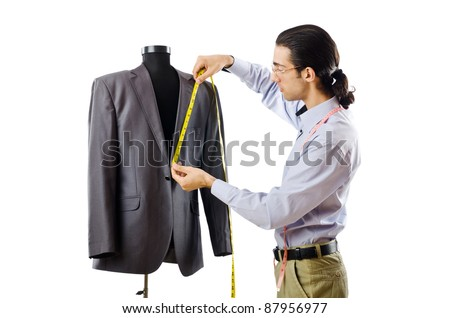 Tailor working isolated on white