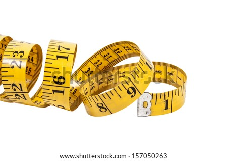 Tailors measuring tape coiled up randomly