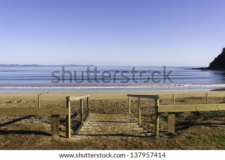 Taipa Beach on a beautiful sunny day in Doubtless Bay, Northland, New Zealand - stock photo