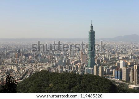Taipei City and Taipei101 , Taiwan - stock photo
