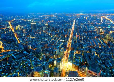 taipei city at night - stock photo
