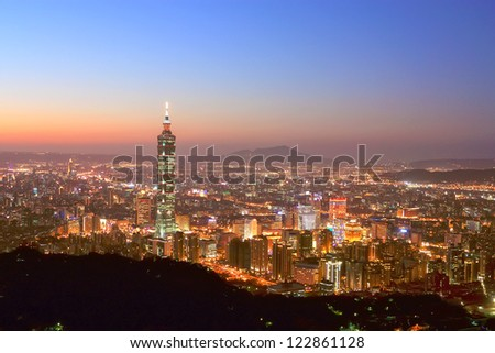 Taipei City sunset skyline and  Taipei101,taiwan - stock photo