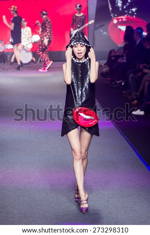 Taipei City , Taiwan ,  April , 9th , 2015 : Taipei in style fashion show models on runway,