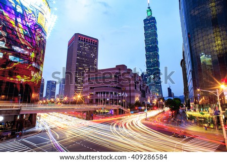 Taipei cityscape at twilight in Taiwan city