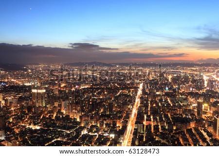 Taipei.Panoramic city skyline in night , view from Taipei 101 skyscraper , Taiwan - stock photo