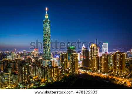 Taipei skyline at night, Taipei, Taiwan.