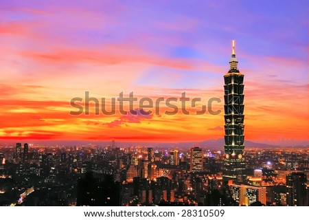 Taipei 101 sunset - stock photo