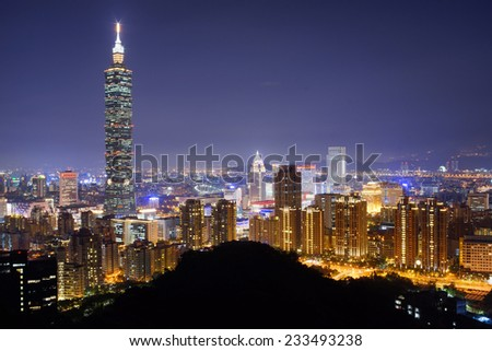 TAIPEI, TAIWAN - AUGUST 12, 2014: Beauty city night scene of Taipei with Taipei 101 skyscraper, Taipei, Taiwan, Asia. August 12, 2014