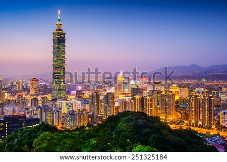 Taipei, Taiwan city skyline at twilight. - stock photo