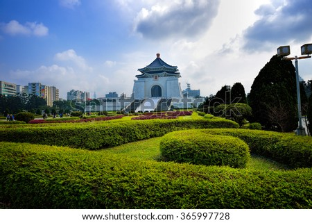 TAIPEI, TAIWAN - JANUARY 21:  Day view of Chiang Kai-shek Memorial Hall on January 21, 2015 in Taiwan. It is located in Zhongzheng District, Taipei, Taiwan.  - stock photo
