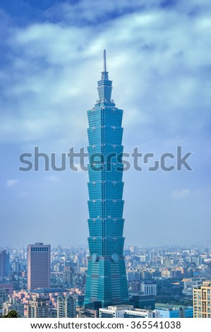 TAIPEI, TAIWAN - JANUARY 21: Day view of Taipei skyline on January 21, 2015 in Taiwan, Taipei 101, The building ranked worlds tallest from 2004 until 2010.