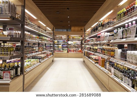 Taipei, Taiwan, January, 22th, 2015,  supermarket interior - stock photo