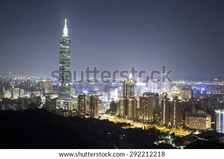 TAIPEI, TAIWAN - JUNE 30, 2015: A beautiful city night scene of Taipei with Taipei 101 skyscraper, Taipei, Taiwan, Asia. June 30, 2015