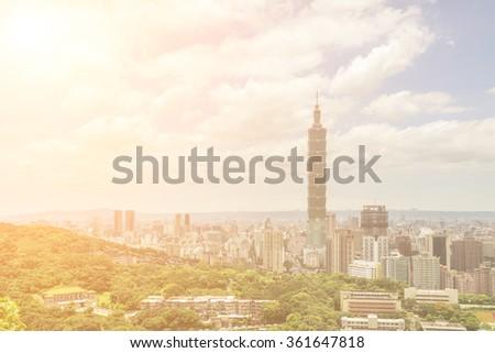 TAIPEI, TAIWAN - JUNE 24 2013. Famous landmark, the 101 skyscraper at daytime with nobody, Taipei, Taiwan, Asia. June 24 2013. - stock photo