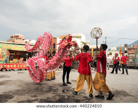 TAIPEI,TAIWAN - June 10 : The Dragon dance in the temple fair of township on June 10,2016 in Tamsui,Taipei,Taiwan. The fair held annually on chinese lunar date of sixth in May.