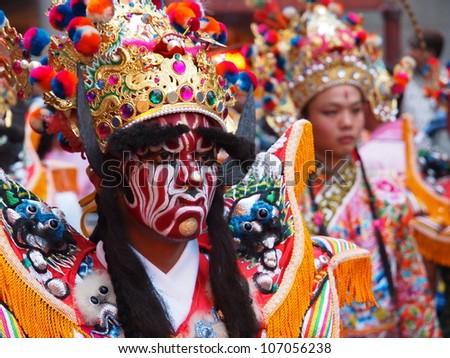 TAIPEI, TAIWAN-JUNE 29: The parade of Xiahai City God in Taipei, Taiwan on June 29, 2012 - stock photo