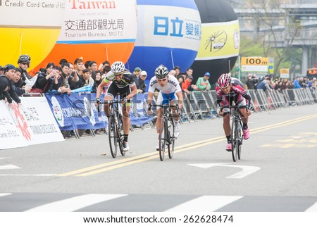 TAIPEI, TAIWAN, MARCH 22 2015, Tour de Taiwan, the International Cycling Road Race. first stage is Taipei city. - stock photo