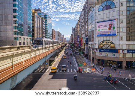Taipei, Taiwan - November 6, 2015 : Line 1 of Taipei Metro comprises two sections of the Taipei Rapid Transit System, the Wenshan Section, and the Neihu Section