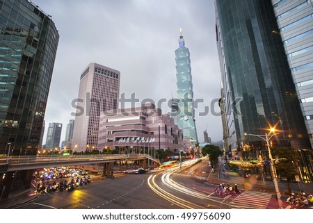 TAIPEI, TAIWAN - October 15: A wide angle shot to Taipei 101 in Xinyi financial district of Taipei city October 15, 2016 in Taipei city after a heavy raining afternoon, Taiwan