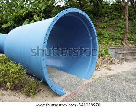 Taipei, Taiwan - SEP 20, 2015:pipe sculpture display in Museum of Drinking Water.The museum building was originally built in 1908. It was declared a third-class historic site in 1993.
