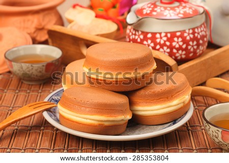 Taiwan delicious snack - wheel-shaped cake - stock photo