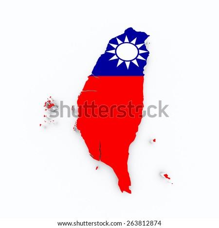 taiwan flag on 3d map  - stock photo