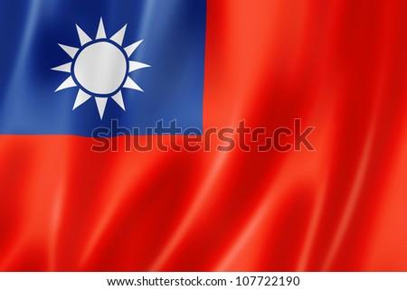 Taiwan flag, three dimensional render, satin texture - stock photo