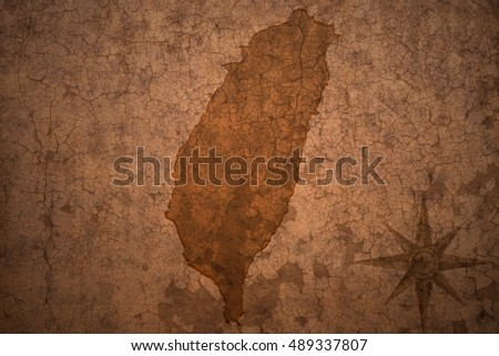 taiwan map on a old vintage crack paper background