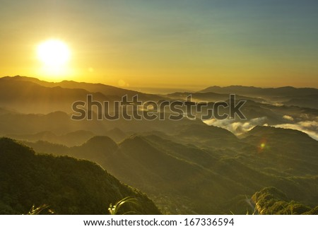 Taiwan mountains beautiful sunrise