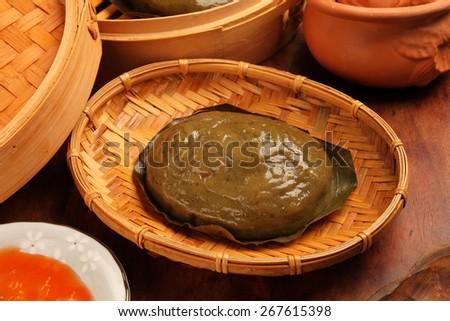 Taiwan's hakka  traditional cuisine - steam mugwort cakes - stock photo