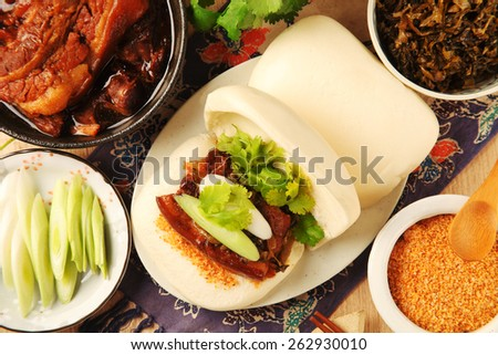 Taiwan's traditional food - Gua Bao (Steamed sandwich )  - stock photo