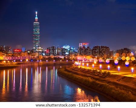 Taiwan Taipei Beautiful night view - stock photo