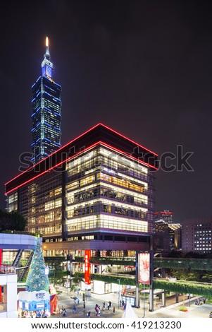 Taiwan, Taipei, December 11th 2015, Taipei 101 building and shopping mall - stock photo
