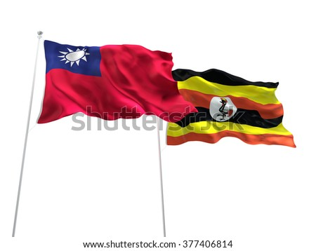 Taiwan & Uganda Flags are waving on the isolated white background - stock photo