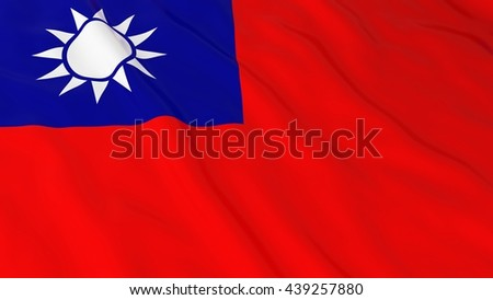 Taiwanese Flag HD Background - Flag of Taiwan 3D Illustration - stock photo
